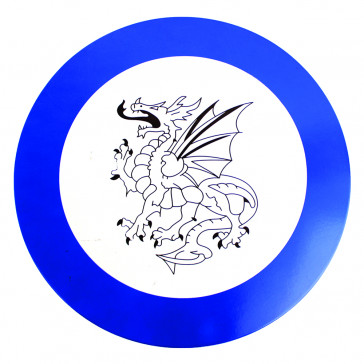 Mini Round Wooden Shield w/ Dragon Detail and Blue Outline