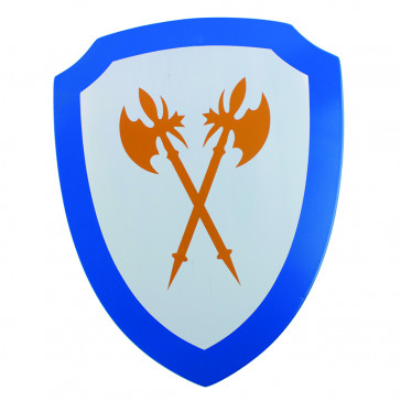 Mini Wooden Shield w/ Double Axe Detail (Blue)