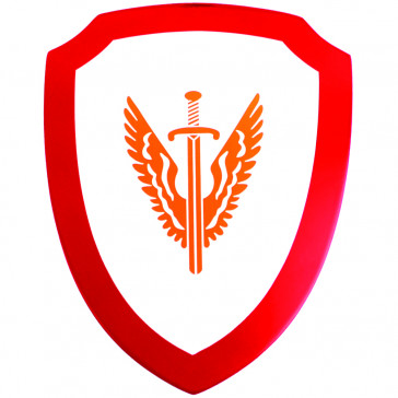 Mini Wooden Shield With Winged Sword Detail (Red)