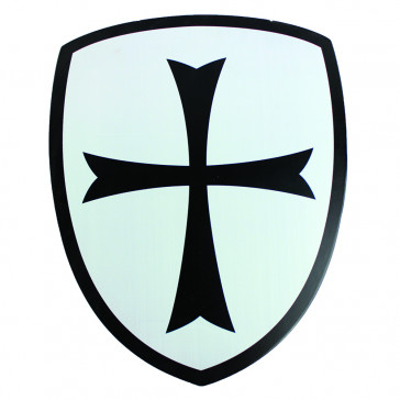 Mini Wooden Shield With Black Crusaders Cross