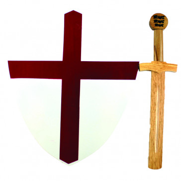 Mini Wooden Red Cross Medieval Shield With Wooden Sword