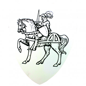 Mini Wooden Shield With Medieval Knight And Horse