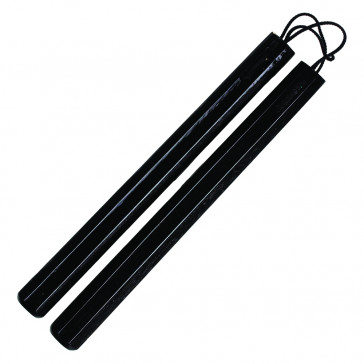 "12"" Black Wooden Corded Nunchaku"