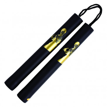"12"" Foam Nunchaku w/ Gold Bruce Lee Print (Black)"