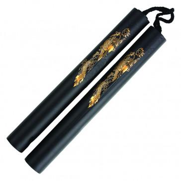 "12"" Foam Nunchaku With Gold Dragon Print (Black)"