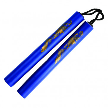 "12"" Foam Nunchaku w/ Gold Dragon Print (Blue)"
