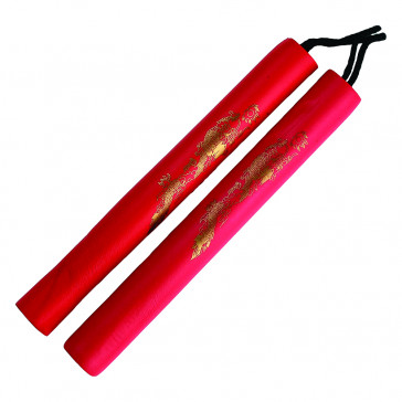"12"" Foam Nunchaku w/ Gold Dragon Print (Red)"