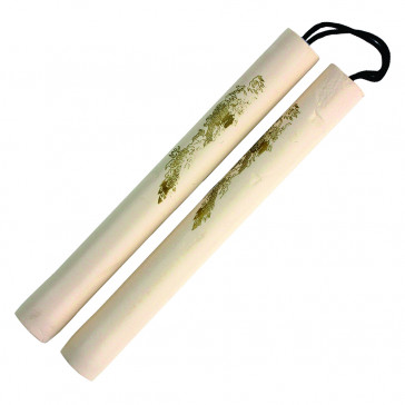 "12"" Foam Nunchaku w/ Gold Dragon Print (White)"