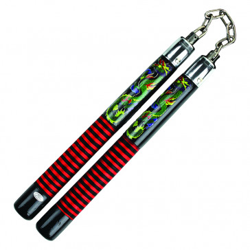 "12"" Black Wooden Nunchaku With Spiral Red Green And Yellow Design With Chain Link"