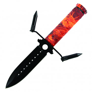 "8.25"" Survival Knife All Black Blade W/ Sheath (Red)"