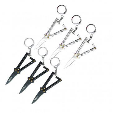 Chrome & Black Keychain Knives