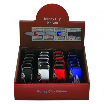 24 Piece Money Clip Assorted Colors And Styles With Knife and Display Case