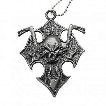 Silver Motorcycle Skull Neck Knife With Hidden Blade