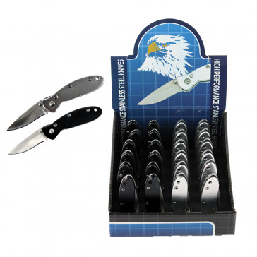 "24 Piece Mini Automatic Pocket Knives With Belt Clip 2.75"" Black And Silver In Display Case"
