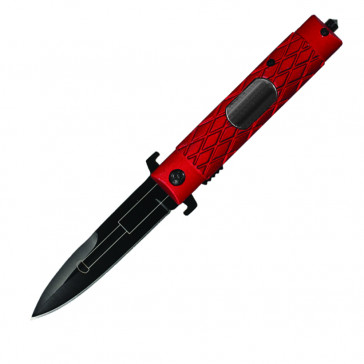 Spring Assisted Faux Baton Pocket Knife (Red)