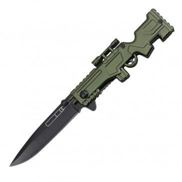 Spring Assisted Sniper Rifle Pocket Knife (Green)