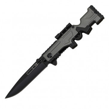 Spring Assisted Sniper Rifle Pocket Knife (Gray)