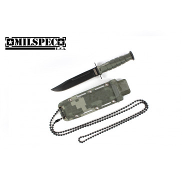 "6"" Drop Point Neck Knife w/Sheath (Green Camo)"