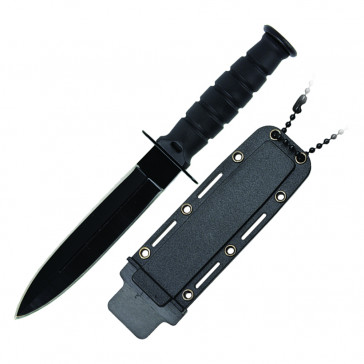 "6"" Double Edge Neck Knife w/Sheath (Black)"