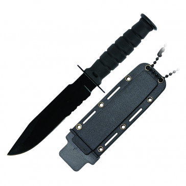 "6"" Serrated Neck Knife w/Sheath (Black)"