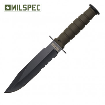 "6"" Serrated Neck Knife w/Sheath (Green)"