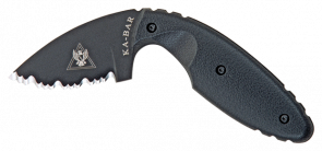 TDI LAW ENFORCEMENT-BLACK,BLACK HARD SHEATH, BLACK TDI CLIP, SERRATED EDGE
