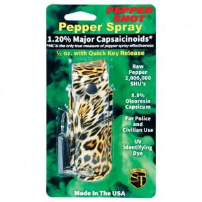 0.5 oz. Pepper Spray(1.2% MC/8.5% OC) w/ Leopard Print Case & Quick Release Keychain