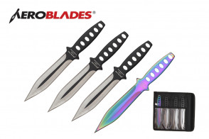 "4 Piece 7.5"" Double Edged Throwing Knives Set w/ Holes in Handle (3 Pieces Black, 1 Piece Rainbow)"