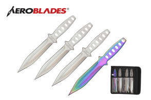 "4 Piece 7.5"" Double Edged Throwing Knives Set w/ Holes in Handle (3 Pieces Chrome, 1 Piece Rainbow)"