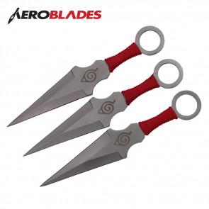 "6.5"" Set of 3 Chrome Ninja Kunai Knives w/ Ninja Symbol"