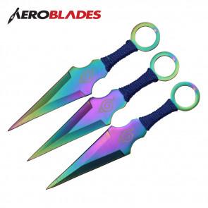 """6.5"""" Set of 3 Rainbow Titanium Ninja Kunai Knives w/ Ninja Symbol"""