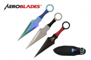 "3 Piece 6.5"" Kunai Style Throwing Knives w/ Scorpion and Chinese Character Design (Rainbow, Chrome, Black)"