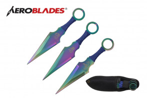 """3 Piece 6.5""""  Kunai Style Throwing Knives w/ Scorpion, Chinese Character, and Dragon Design (Rainbow)"""