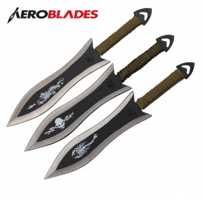 "Set of 6 6.5"" Paracord Wrapped Arrowhead Assorted Throwing Knives"