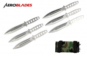 "6 Piece 6.5"" Two Toned Black Aero Blades Throwing Knives Set With Camo Carrying Case"