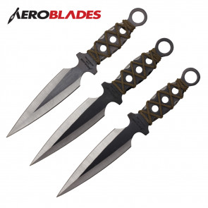 "Set of 3 9"" Cross-Wrapped Throwing Knives"