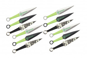 "9"" 12pc set zombie throwing knife"