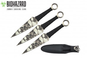 "9"" 3pcs set black zombie throwing knife"