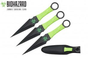 "9"" 3pcs set black zombie throwing knife"