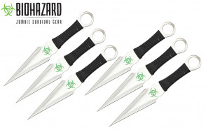 "9"" 6pcs set silver zombie throwing knife"