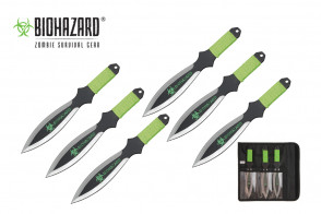 """6 Piece 9"""" Biohazard Silver Wing Throwing Knife Set w/ Neon Green Cord Wrapped Handle (Black)"""
