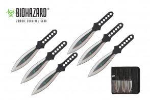 """6 Piece 9"""" Biohazard Silver Wing Throwing Knife Set w/ Holes in the Handle (Black)"""