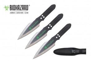 "3 Piece 9"" Biohazard Thunderbolt Throwing Knife Set (Black w/ Chrome Edge)"