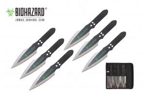 "6 Piece 9"" Biohazard Thunderbolt Throwing Knife Set (Black w/ Chrome Edge)"