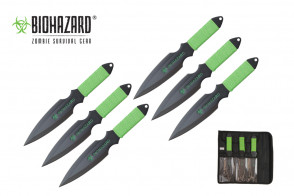 "9"" 6pc.Biohazard Throwing Knives"