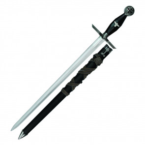 """23"""" German Dagger With Black Handle and Scabbard With Brown Leather Wrapper Scabbard"""