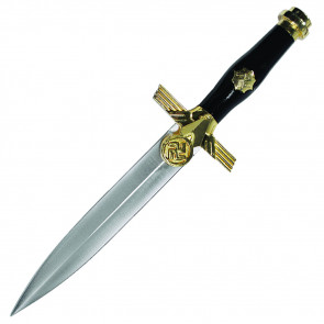 "12"" Gold And Black German Dagger With Eagle"