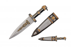 """14"""" Roman Dagger With Eagle Head Designed Handle And Scabbard With Brass Colored Finish"""