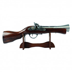 Wood Handle Antique Gun With Wooden Handle Chrome Accents And Wooden Display Stand