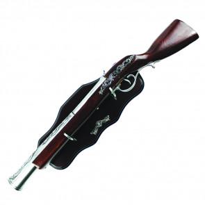Shotgun Antique Wood Handle Gun Display With Wooden Plaque